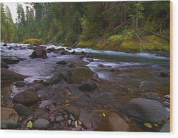 Evening On The Santiam River Wood Print
