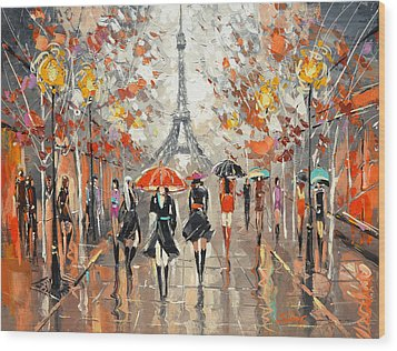 Evening. Paris Wood Print