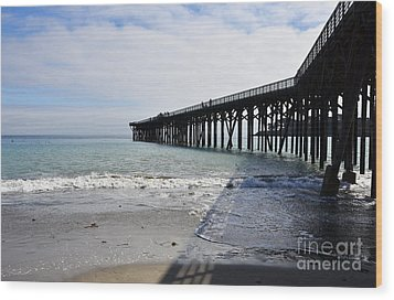 Wood Print featuring the photograph Evening Pier Shadows Are Lost In The Surf by Debby Pueschel