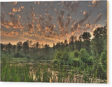 Wood Print featuring the photograph Evening Pond by Jeff Cook