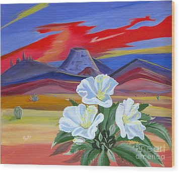 Wood Print featuring the painting Evening Primrose by Phyllis Kaltenbach
