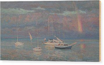 Evening Rainbow Wood Print by Korobkin Anatoly