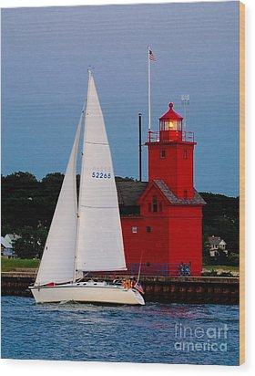Evening Sail At Holland Light Wood Print by Nick Zelinsky