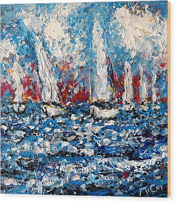 Evening Sailing Wood Print