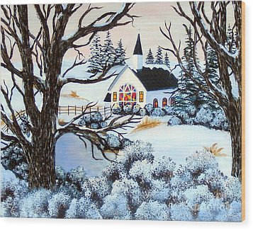 Wood Print featuring the painting Evening Services by Barbara Griffin