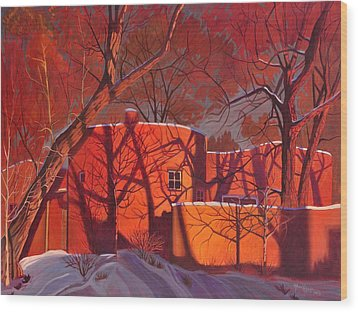 Wood Print featuring the painting Evening Shadows On A Round Taos House by Art James West