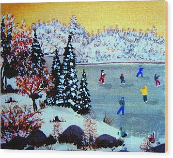 Evening Skating Wood Print by Barbara Griffin