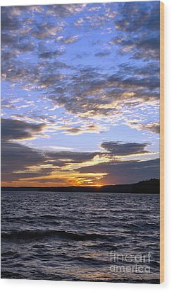 Evening Sky Over Lake Wood Print by Olivier Le Queinec
