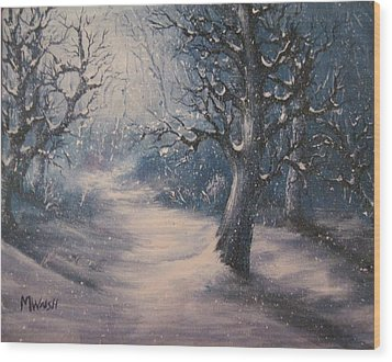 Evening Snow Wood Print by Megan Walsh