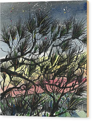 Evening Starlight Fantasy Wood Print by Terry Banderas