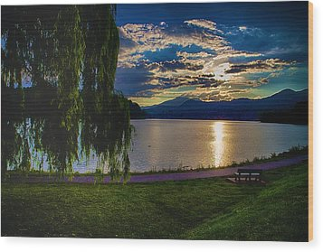 Evening Sun Kisses Lake One Last Time Wood Print