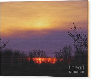 Evening Sunset Lake Wood Print
