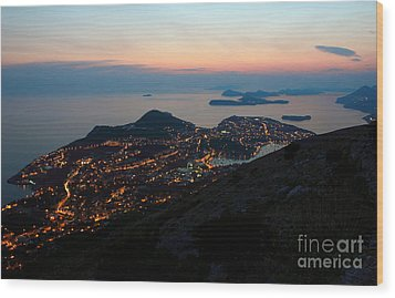 Evening View Toward Dubrovnik And The Dalmatian Coast Wood Print by Kiril Stanchev