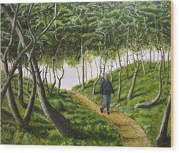 Wood Print featuring the mixed media Evening Walk by Kenny Henson