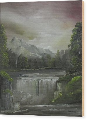 Evening Waterfalls Wood Print
