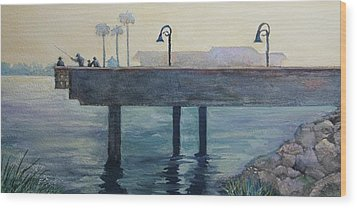 Wood Print featuring the painting Eventide At The Oceanside Harbor Fishing Pier by Jan Cipolla