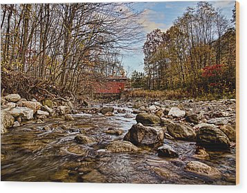 Everett Rd Covered Bridge Wood Print by Jack R Perry