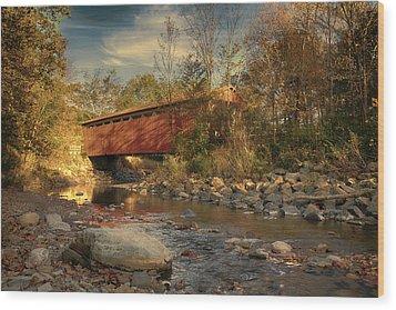 Everett Rd Summit County Ohio Covered Bridge Fall Wood Print