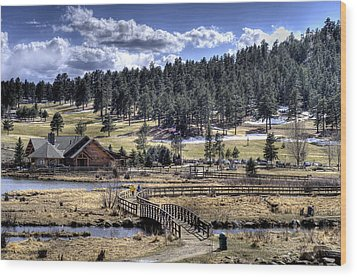 Evergreen Colorado Lakehouse Wood Print