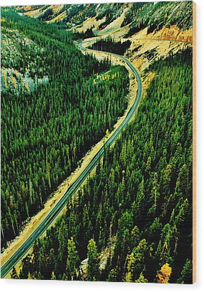Evergreen Highway Wood Print by Benjamin Yeager