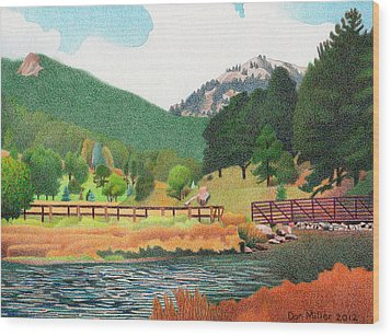 Evergreen Lake Spring Wood Print by Dan Miller