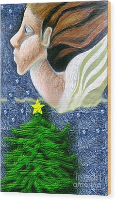 Everseeing Christmas Angel Wood Print by Genevieve Esson