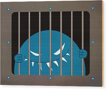 Evil Monster Kingpin Jailed Wood Print