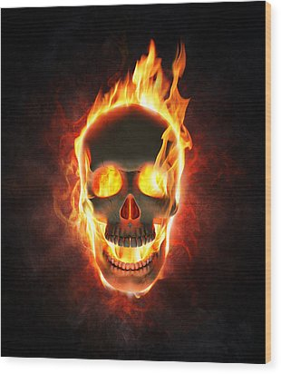 Evil Skull In Flames And Smoke Wood Print