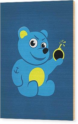 Evil Tattooed Teddy Bear Wood Print