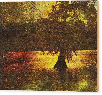Wood Print featuring the digital art Evocative Waterscape Sunrise by J Larry Walker