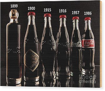 Evolution Of Coca Cola Tm Wood Print