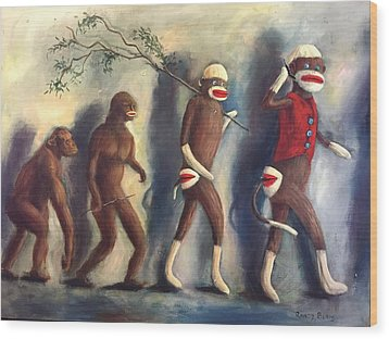 Wood Print featuring the painting Evolution by Randol Burns
