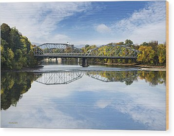Wood Print featuring the photograph Exchange St. Bridge Rock Bottom Dam Binghamton Ny by Christina Rollo