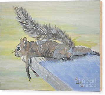 Exhausted Little Nevada Squirrel Wood Print by Phyllis Kaltenbach