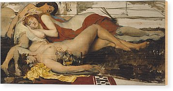 Exhausted Maenides Wood Print by Sir Lawrence Alma Tadema