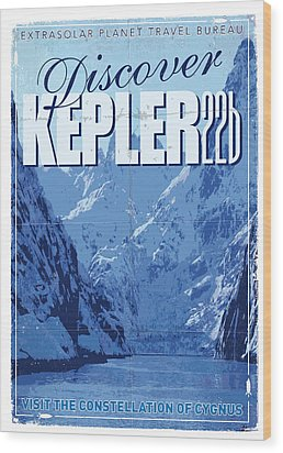 Exoplanet 02 Travel Poster Kepler 22b Wood Print by Chungkong Art