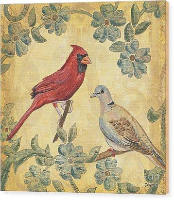 Exotic Bird Floral And Vine 2 Wood Print by Debbie DeWitt