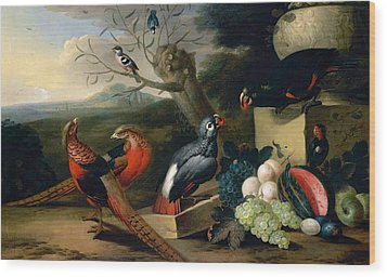 Wood Print featuring the digital art Exotic Birds by Tobias Stranover
