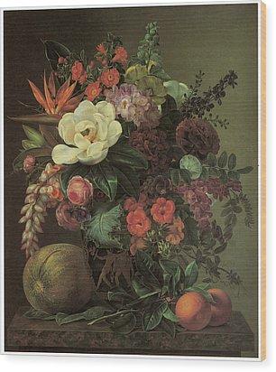 Exotic Bloom In A Grecian Urn Wood Print by Johan Laurentz Jensen