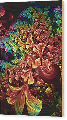 Wood Print featuring the digital art Exotic Plant Life by Lea Wiggins