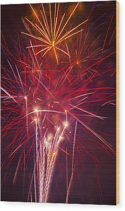 Exploding Fireworks Wood Print by Garry Gay