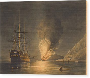 Explosion Of The Uss Steam Frigate Missouri Wood Print by War Is Hell Store