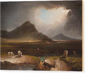 Extensive Landscape With Stonemason Wood Print by Daniel M. Mackenzie