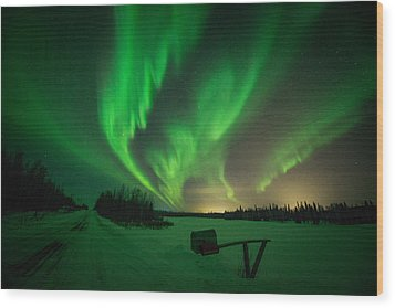 Extreme Aurora Activity Salcha Wood Print