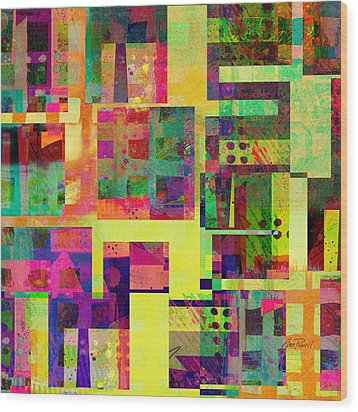 Extreme Color  Abstract Art  Wood Print by Ann Powell