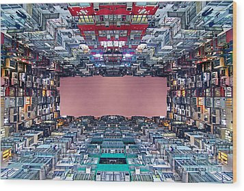 Extreme Housing In Hong Kong Wood Print by Lars Ruecker