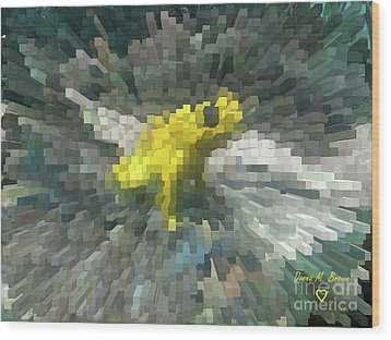Wood Print featuring the photograph Extrude Yellow Frog by Donna Brown