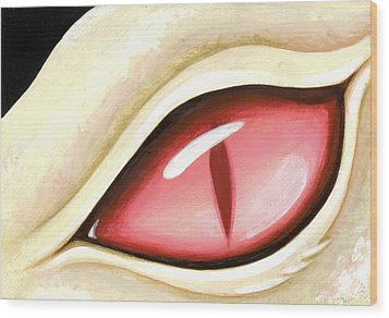 Eye Of The Albino Dragon Wood Print by Elaina  Wagner