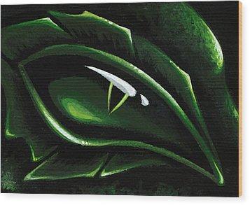 Eye Of The Emerald Green Dragon Wood Print by Elaina  Wagner