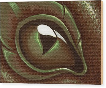 Eye Of The Forest Dragon Hatchling Wood Print by Elaina  Wagner
